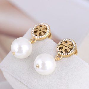 🎁Tory Burch Round Hollow Marking Pearl Earrings